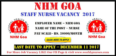 NHM Goa Staff Nurse Vacancy 2017
