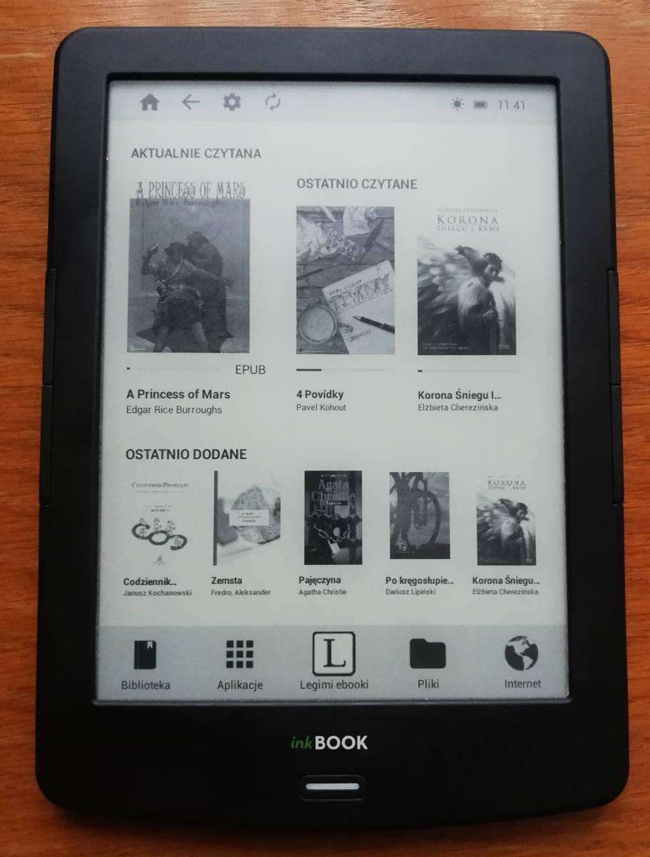 ekran startowy w InkBOOK LUMOS wersja oprogramowania 2.0.0