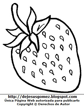 Imagen de una fresa con hojas para colorear o pintar. Dibujo de la fresa de Jesus Gómez