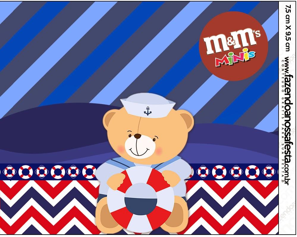 Etiquetas M&M de Osito Marinero para imprimir gratis.