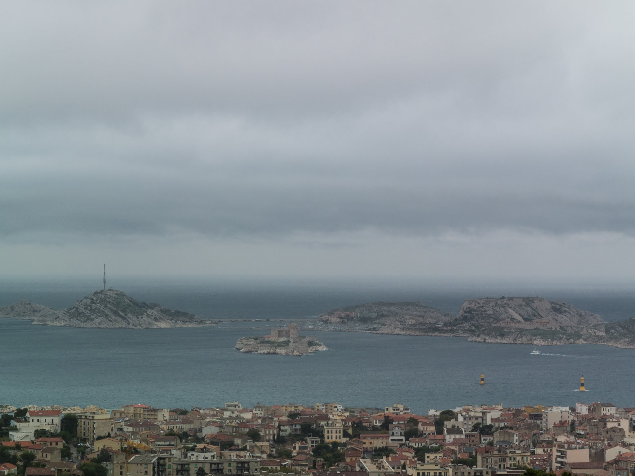 Les Îles du Frioul in Marseille harbour seen from the Basilica.