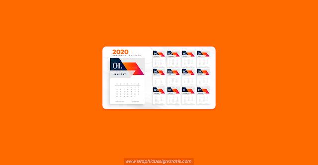 Calendario geométrico naranja 2020 gratuito
