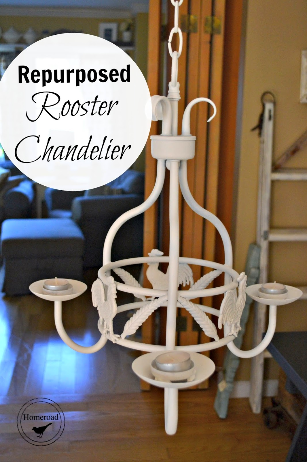 upcycled rooster chandelier www.homeroad.net
