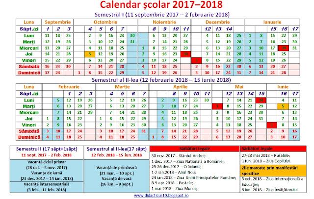Structura anului școlar 2017–2018