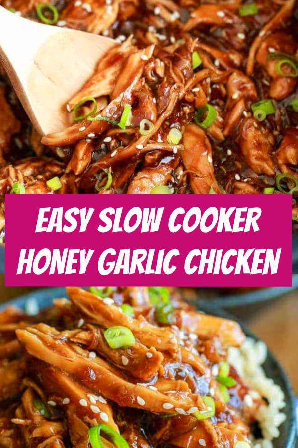 Slow Cooker Honey Garlic Chicken is a delicious and easy meal that my whole family loves!  Tender chicken cooked in a sweet and sticky sauce is perfect served over fluffy rice! #slowcooker #chicken #garlicchicken #chickenrecipe #easymeals #dinner