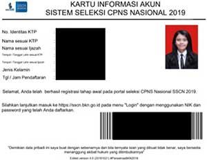contoh kartu informasi akun pendaftaran CPNS SSCN 2019