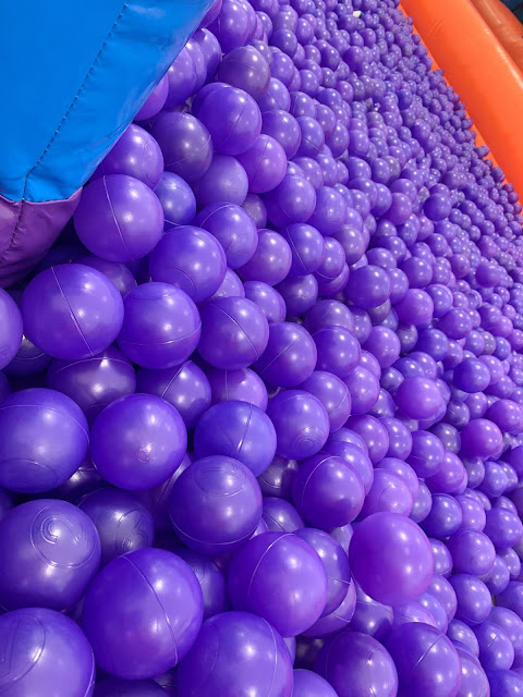 purple ball pool balls in a ball pit indoors