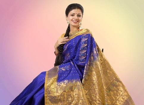 Blue And Golden Handwoven Bangalore Saree