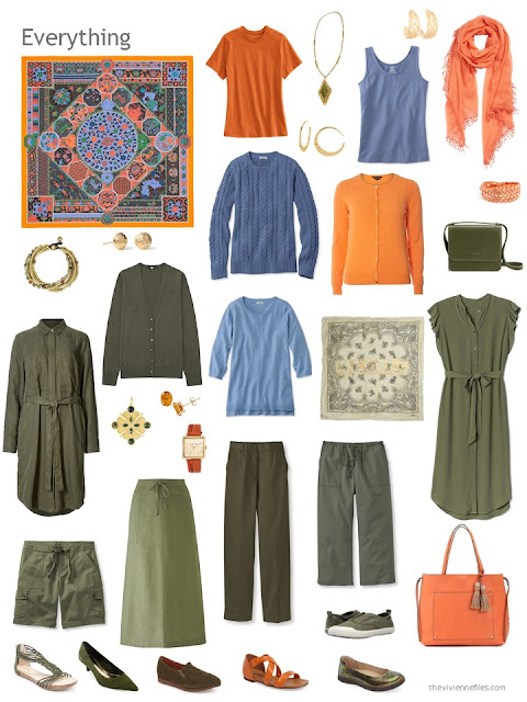 a travel capsule wardrobe in olive, blue and orange