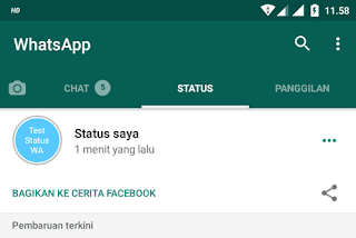 Cara Share Status WhatsApp ke Facebook