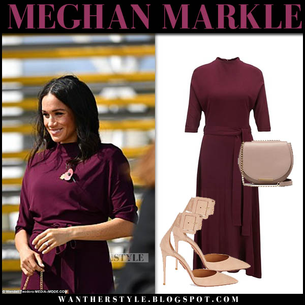 Meghan Markle in burgundy hugo boss dress with plush aquazuura pumps and pink cuyana bag australia royal tour style october 28