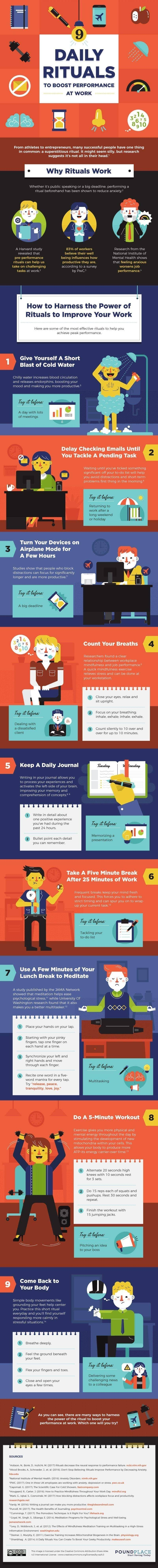 9 Daily rituals to increase work performance #infographic