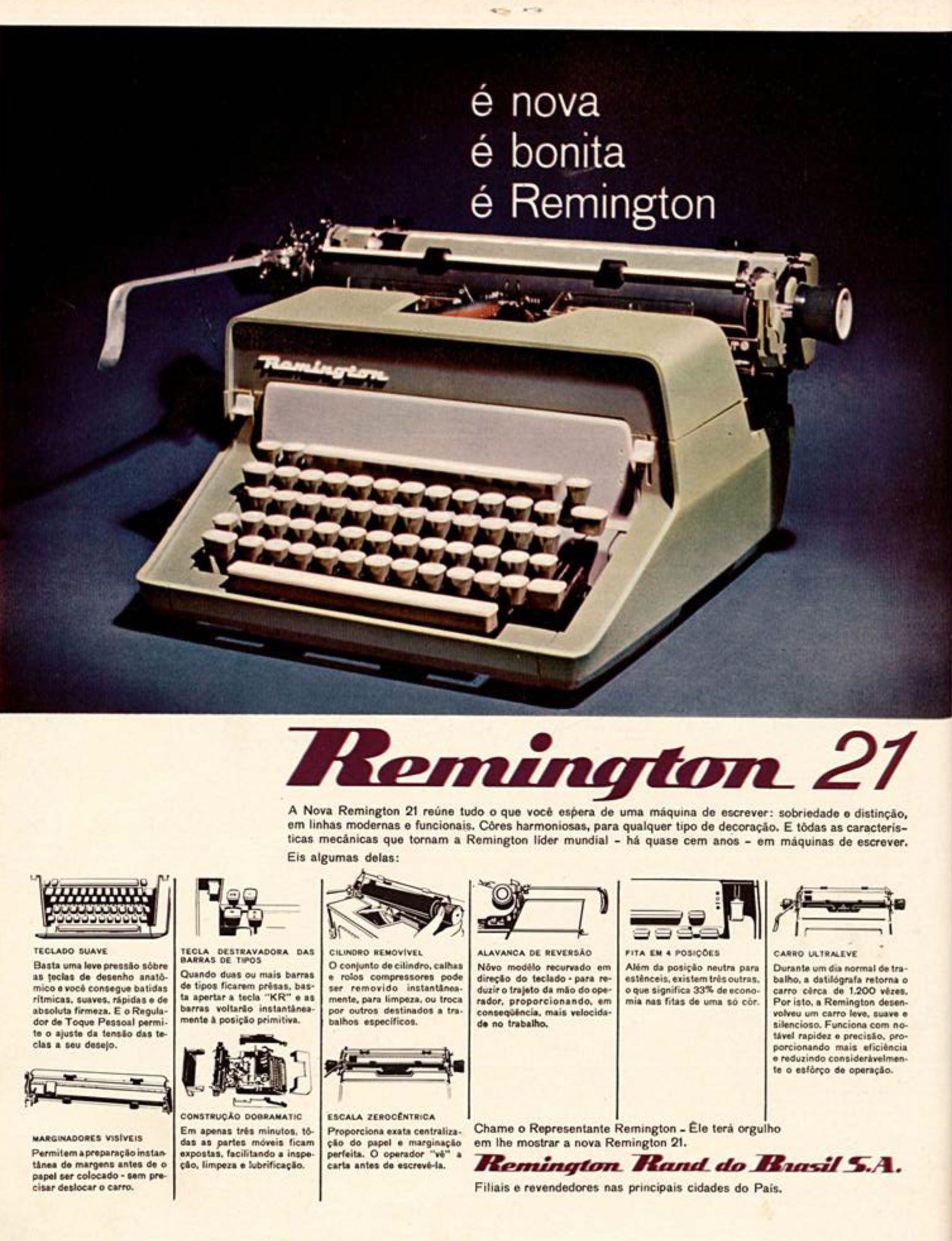Anúncio veiculado em 1966 apresentando as inovações da máquina de escrever Remington