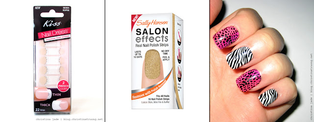 Quick fast nail solutions for when you are in a hurry Kiss 2 Looks Nail Dress Sally Hansen Salon Effect Real Nail Polish Strips Impress Press-On Manicure