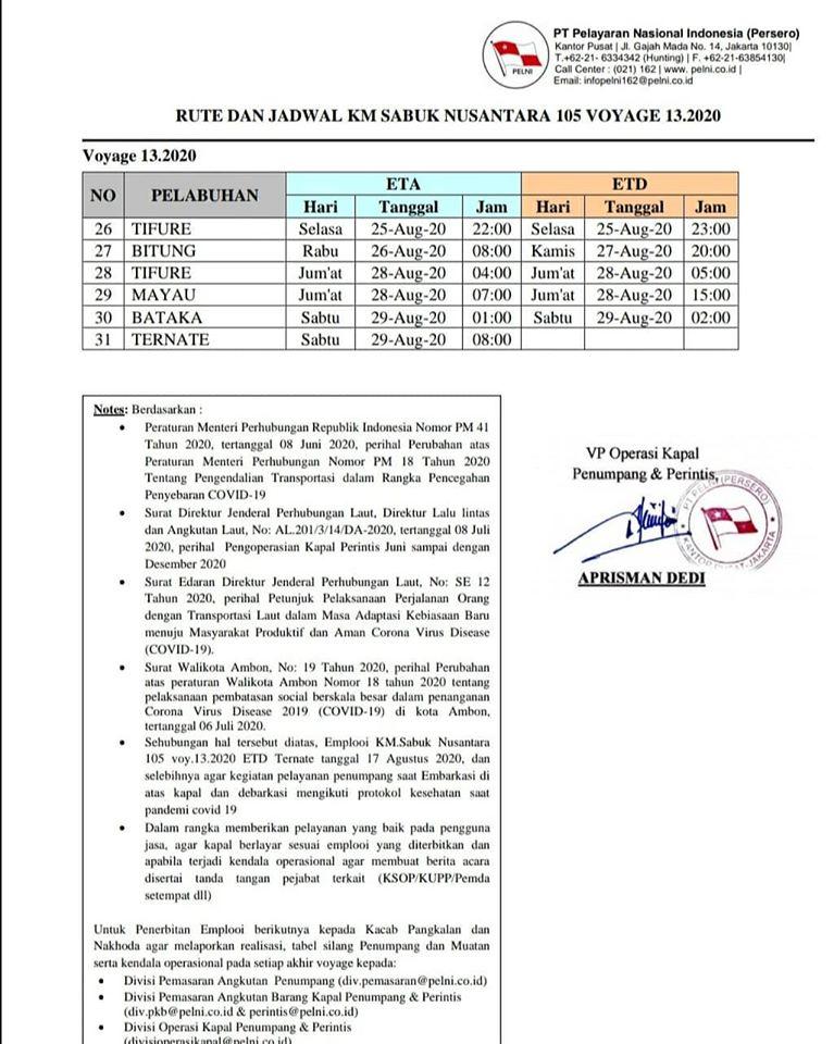 Jadwal Kapal Sabuk Nusantara (Sanus) 105 Bulan Agustus 2020