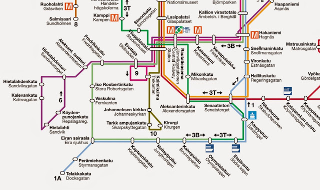 Helsinki transport map, 赫爾辛基交通圖