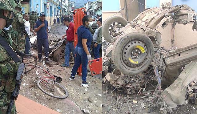 EXPLOTA CARRO BOMBA FRENTE A ALCALDÍA EN CAUCA COLOMBIA
