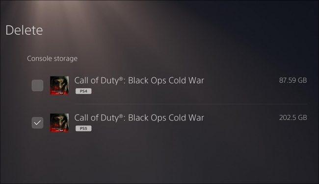 قائمة PS5 حيث تختار أي إصدار من اللعبة تريد حذفه