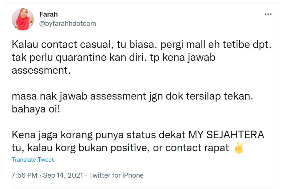 Bahaya tak, kalau dapat Contact Casual dalam MY SEJAHTERA?