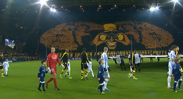 Coreografia espetacular no Borussia vs Málaga (video)