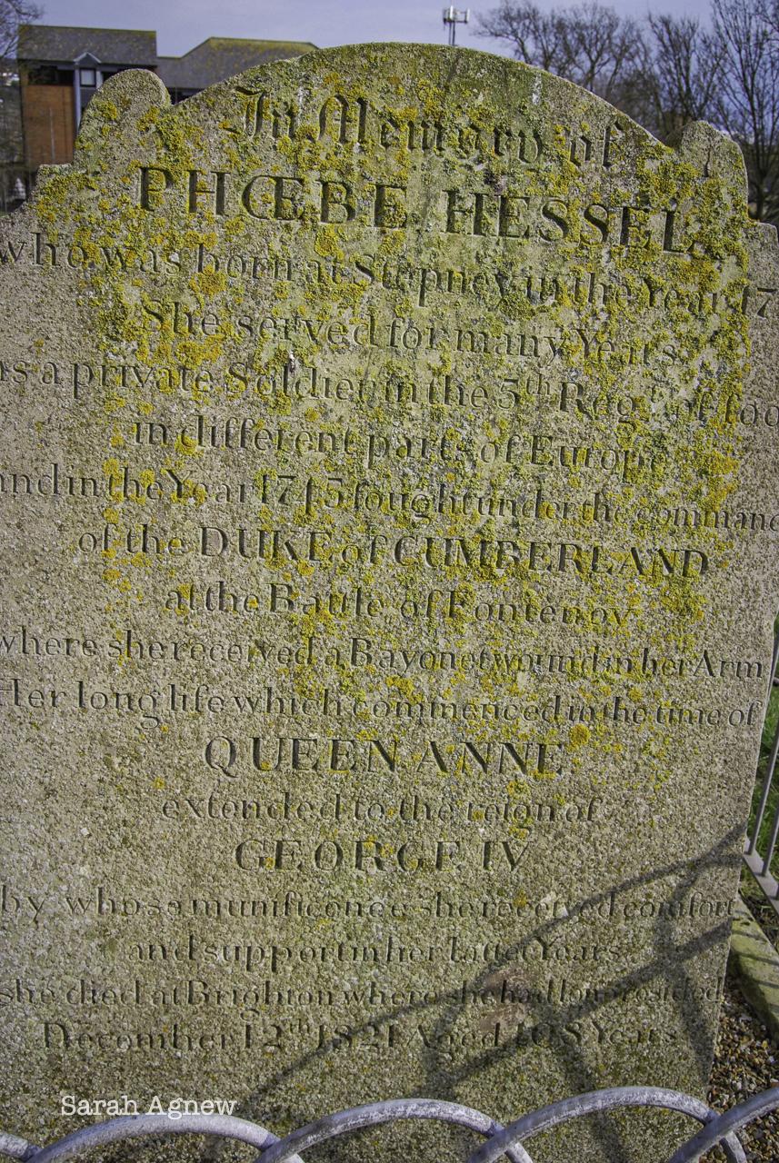 Phoebe Hessel gravestone, St Nicholas Church Brighton and the Eighteenth Century, photo by Sarah Agnew