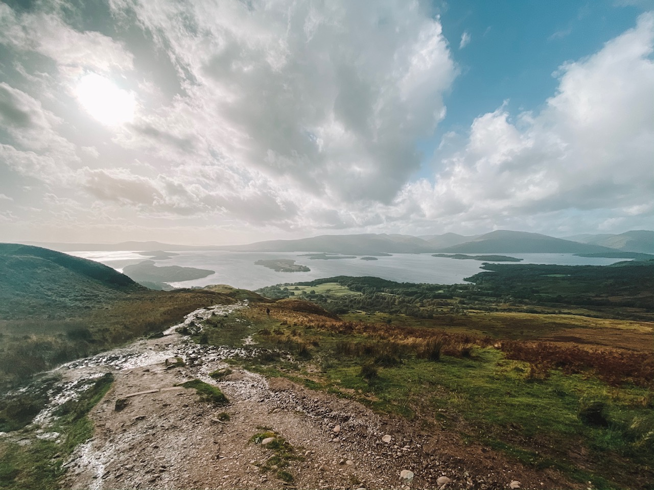 Travel blogger Amanda's OK hikes Conic Hill overlooking Loch Lomond outside of Glasgow, Scotland