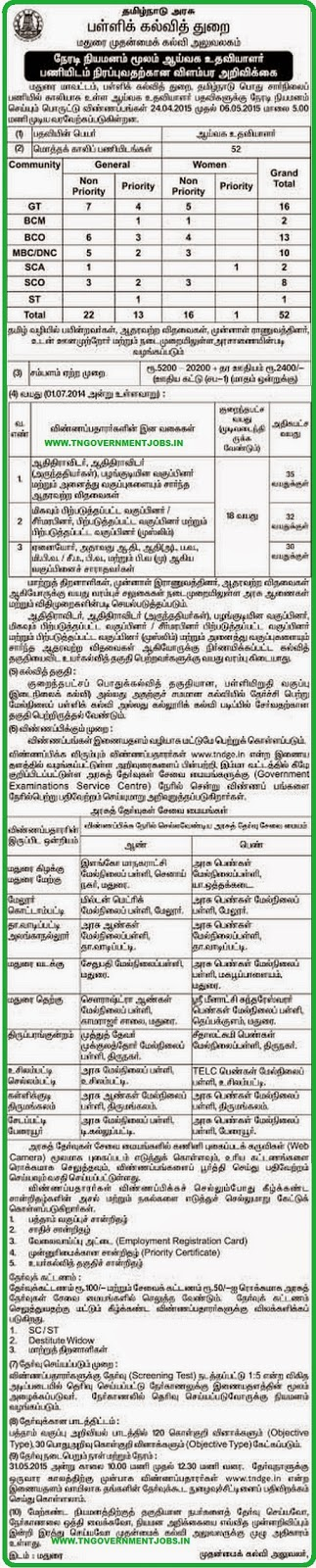 Madurai CEO Lab Asst Recruitments 2015 (www.tngovernmentjobs.in)