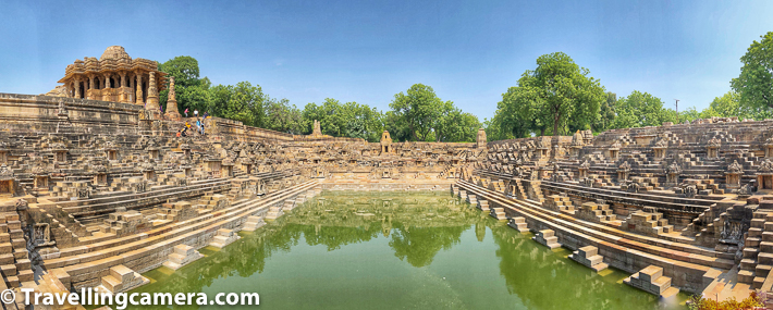 We sat around this water reservoir for a long time, before we saw the main temple on the top. I walked around all four walls of this stepwell at Modhera Sun Temple. It was pretty hot in the month of October, so we took some small breaks around shade.