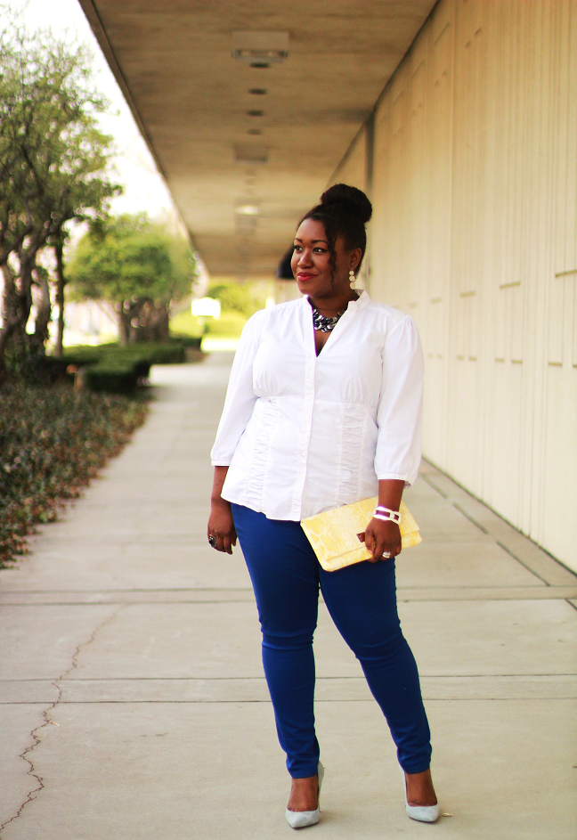 plus size colored jeans outfit ideas curvy women fashion blog Macys Plus Size Blouses