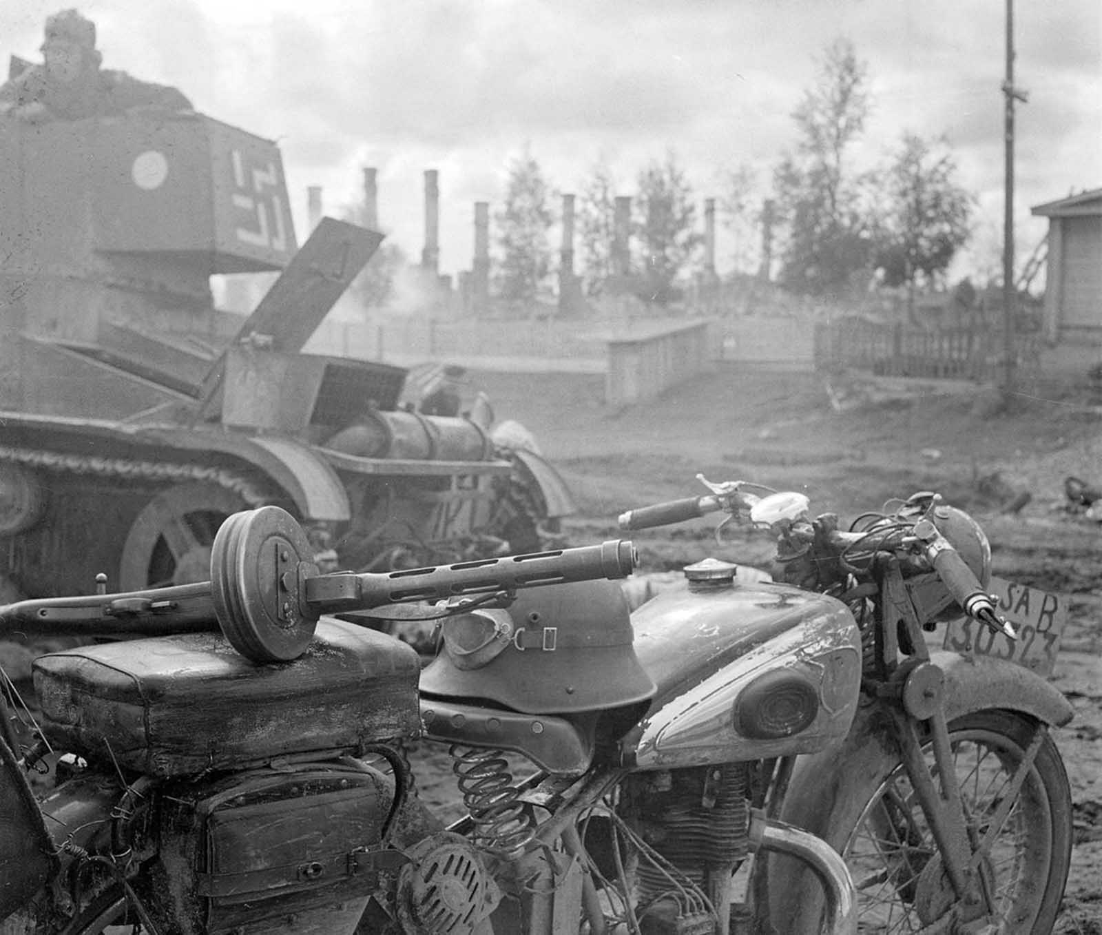 Finnish motorcycle and tank.
