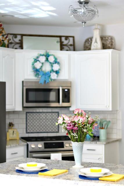 kitchen, makeover, white, subway, tile, granite, cabinets,