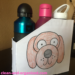Turn a cereal box into an organizer for empty water bottles