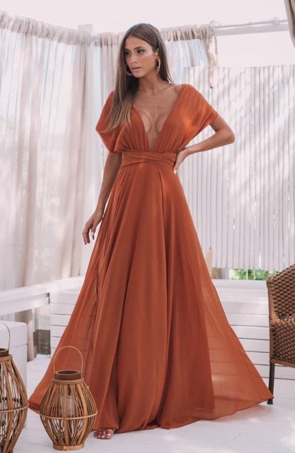 vestido longo terracota multiformas com manguinha