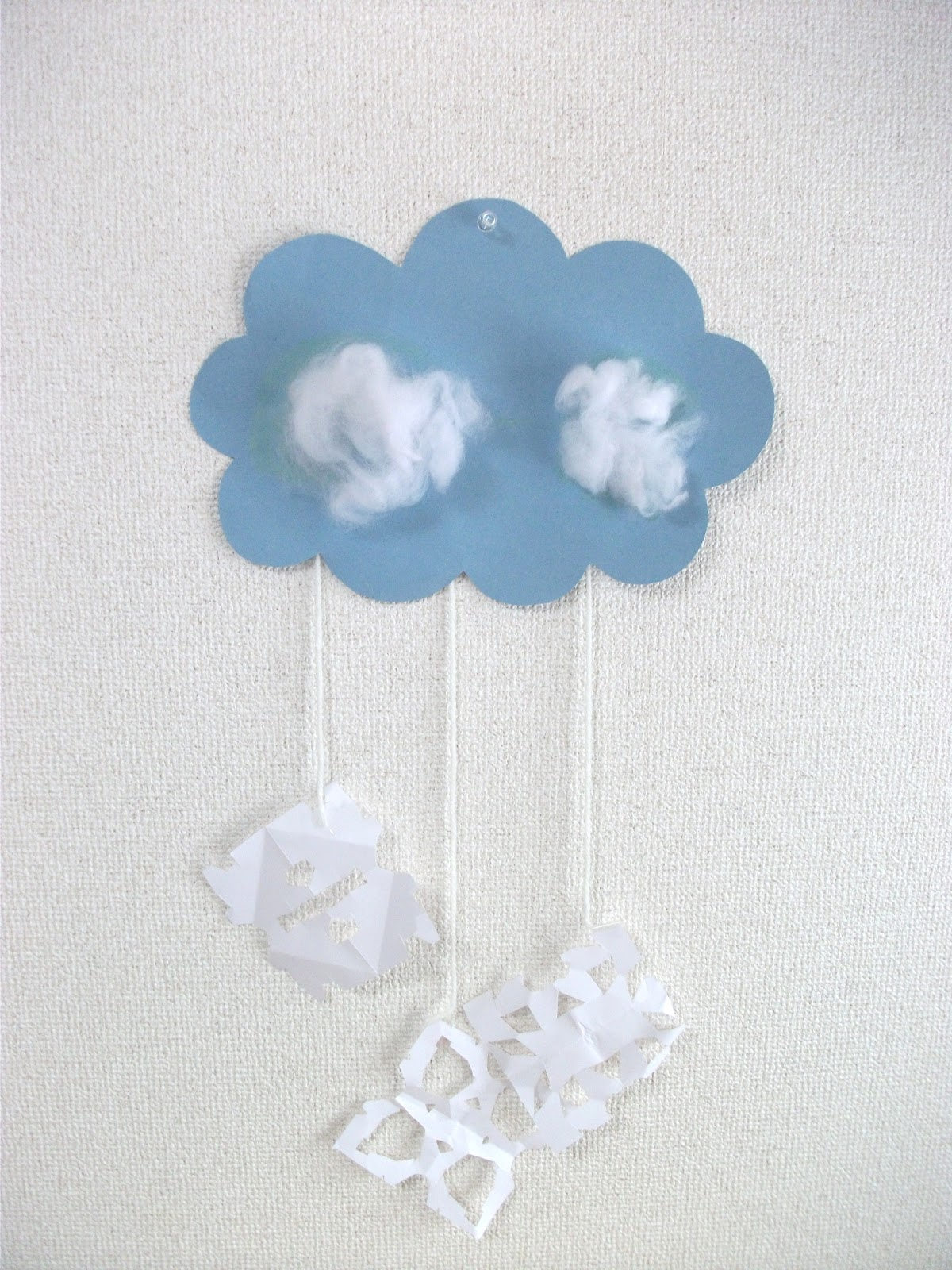 Preschool Crafts For Kids Winter Snow Cloud Mobile Craft