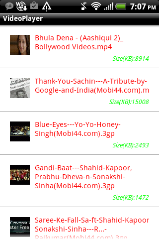 Android Play video from SD Card   Populating a listview with
