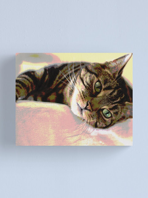 cat art of tabby cat with large green eyes