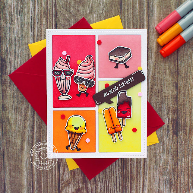 Sunny Studio Stamps: Summer Sweets Comic Strip Speech Bubble Dies Birthday Card by Vanessa Menhorn