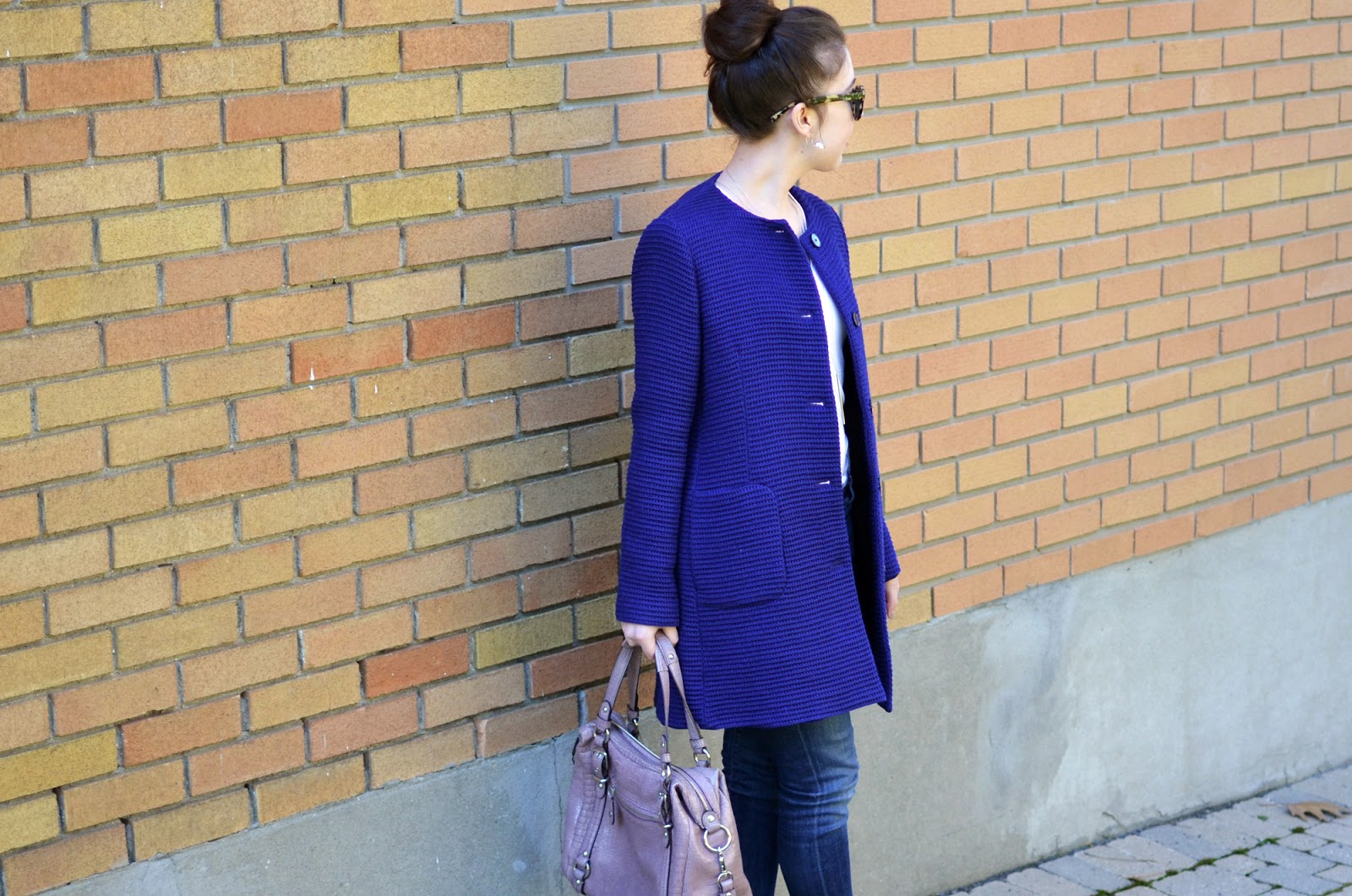 Casual autumn OOTD ft. my purple Zara coat, Citizens of Humanity Jeans, Coach bag, and Warby Parker sunglasses