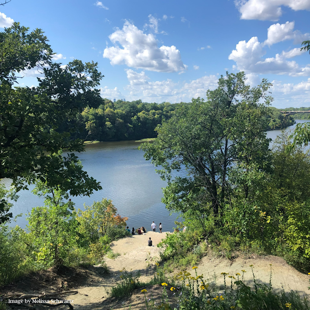 Spectacular view of the Mississippi from atop the bluffs near Shadow Falls.