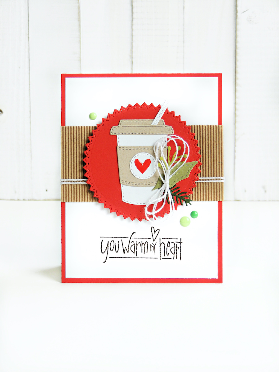 Craft an adorable winter card with the Coffee To Go die set from Impression Obsession. Click to see a fall and winter version of cardmaking ideas for the coffee-lovers in your life! #cardmaking #papercrafts #coffee