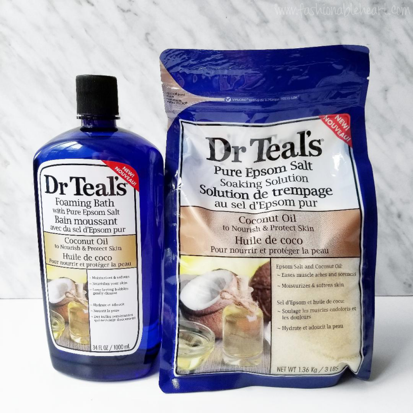bblogger, bbloggers, bbloggerca, canadian beauty blogger, beauty blog, lblogger, dr. teal's, pure epsom salt, soaking solution, foaming bath, bubble bath, coconut oil, dry skin, sore muscles, tibial plateau fracture, self care, self love, product review, coconut