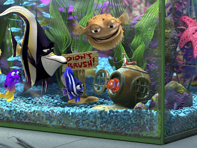 Dentist's aquarium in Finding Nemo