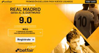 betfair supercuota 9 Real Madrid gana al B. Dortmund Champions 27-9