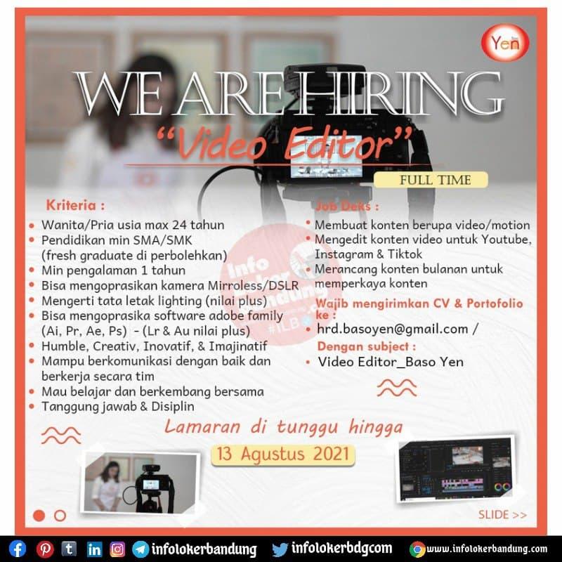 Lowongan Kerja Video Editor & Graphic Designer Baso Yen Bandung Agustus 2021
