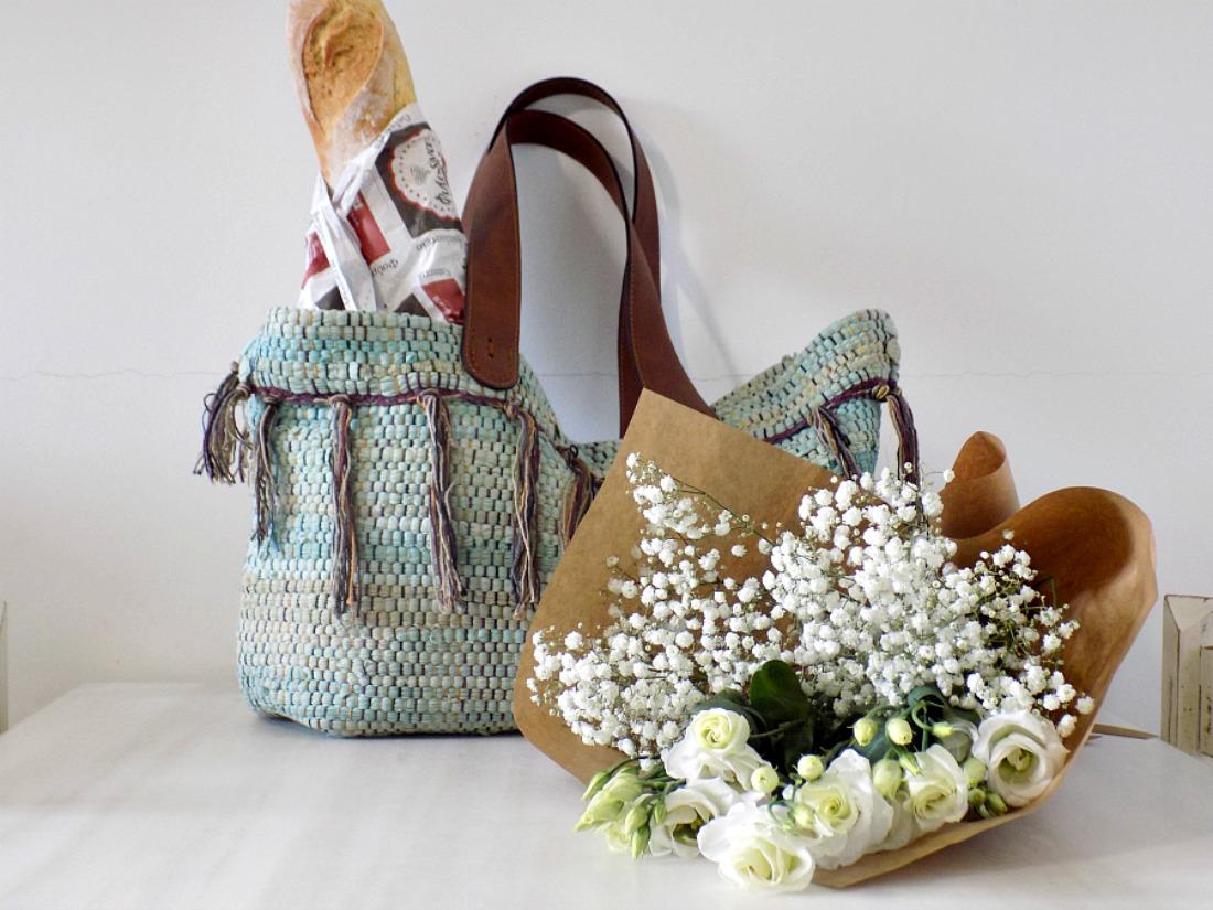Boho τσάντα από κουρελού ιδανική για τα ψώνια