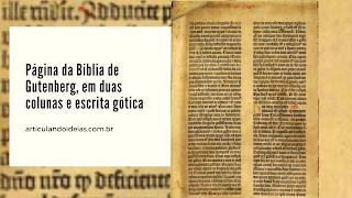 Página da bíblia de Gutemberg em escrita gótica