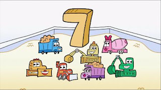 7 trucks are counted in a sandbox, Sesame Street Episode 4401 Telly gets Jealous season 44