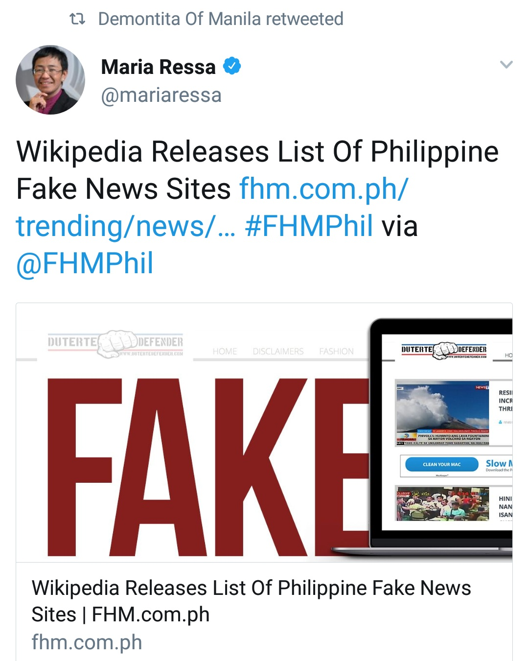 """According to Maria Ressa, Wikipedia, """"released"""" a list of ..."""