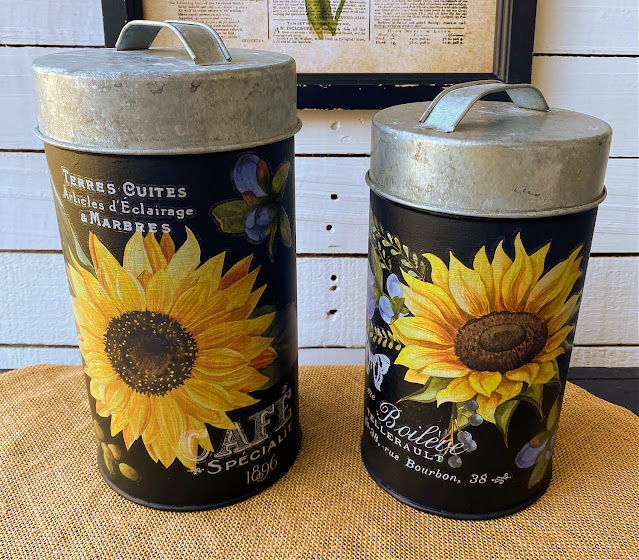Photo of the sides of upcycled fall sunflower canisters