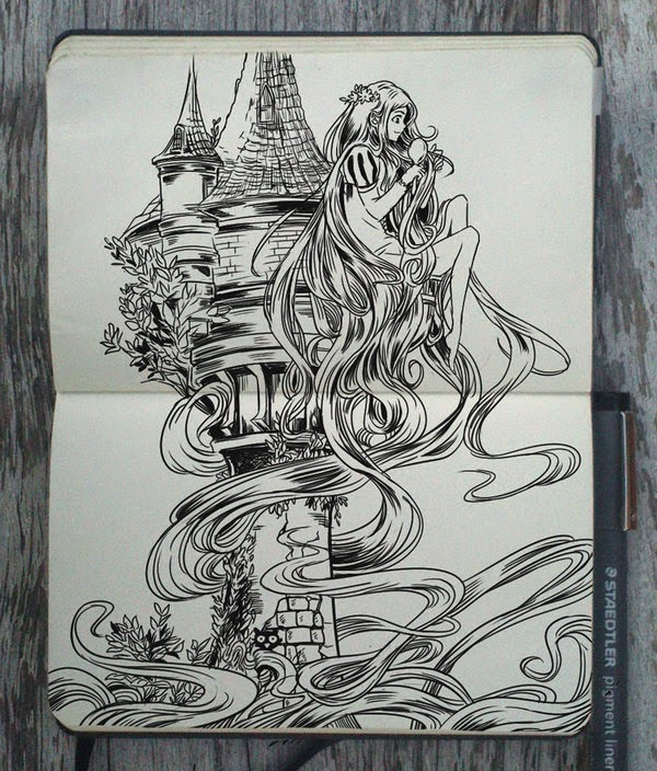 18-Rapunzel-Gabriel-Picolo-365-Days-of-Doodles-www-designstack-co
